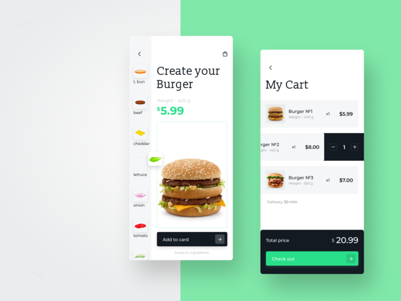 Food UI App food and drink food app order total cart checkout burger fast food restaurant order food create delivery hamburger mobile app mobile ui app food