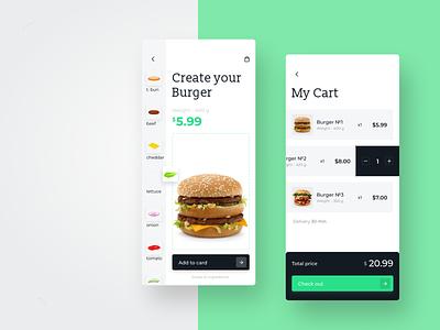 Food UI App food and drink food app order total cart checkout burger fast food restaurant order food create delivery hamburger mobile app mobile ui app food