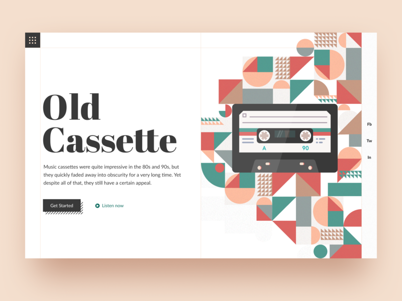Old Cassette: Header website web design typogaphy landing page main page landing geometry cassette player cassette old music music player music art music oldschool old headline first screen head header
