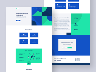 Landing page geometric footer infographic slider pagination form blue green color clean icons home page web site vector logo company ux ui design