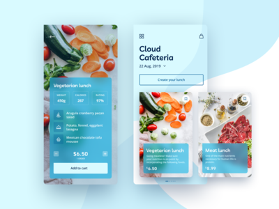 Food App. Cloud Cafeteria ux ui calories delivery dinner menu design menu count cart mobile app mobile ui create meat vegetarian lunch food and drink food app mobile app food