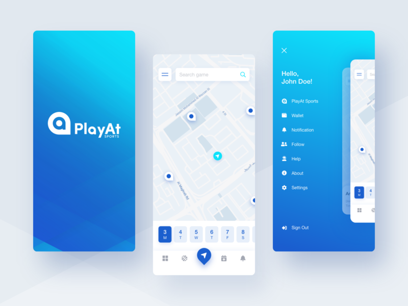 New concept for PlayAt Sports app blue and white gradient icons location calendar splash map sport burger menu branding vector logo clean mobile application ux app ui design