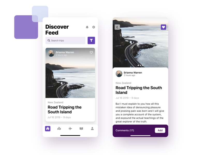 Travel Application ux ui mobile app design mobile ui mobile design mobile app mobile applicaiton app comments likes details menu bar menu card feed discover trips travel trip