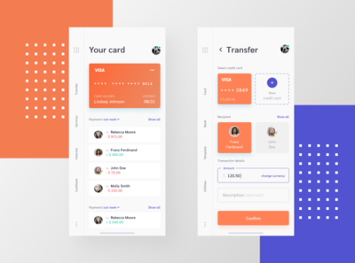 Mobile Banking App menu purple orange interface design interface ui uiux mobile ui banking transaction cashback services bank welcome main transfer card app mobile app mobile