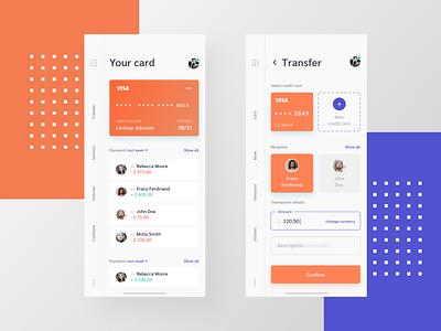 Mobile Banking App menu purple orange interface design interface ui uiux mobile ui banking transaction cashback services bank welcome main transfer card app mobile app mobile