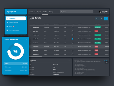 Dashboard. Table. (Concept) dark ui graphic analitycs design uiux detail rows table tables search lender conversion money pay payment dashboard design dashboard ui dashboard