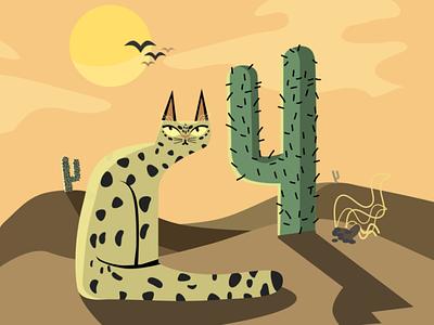 Desert Hunter poo sun illustration cactus desert cat