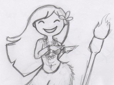 Hulagirl hula girl illustration first shot