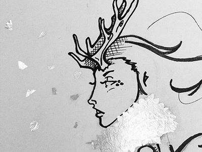 Ice antlers woman mixed media sketch frozen