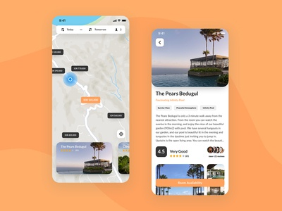 Travel App Concept: Nearby Accomodation