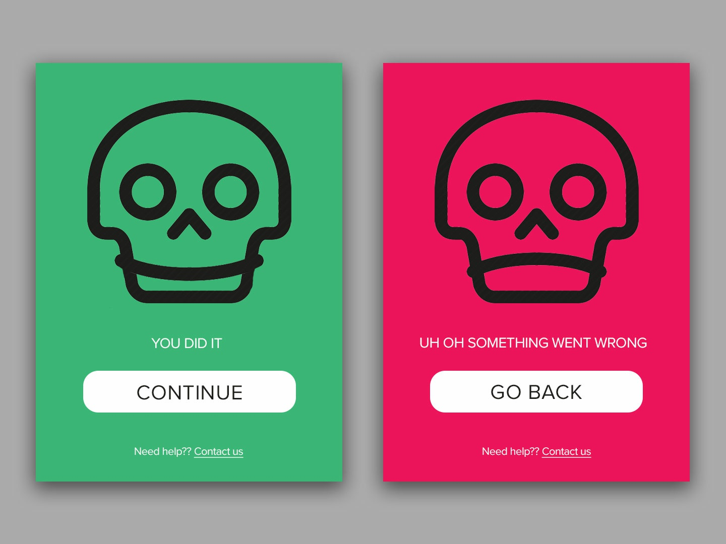 Daily UI 011 red green success error 011 dailyui011 skull illustration typography ui app digital design dailyui daily 100 challenge