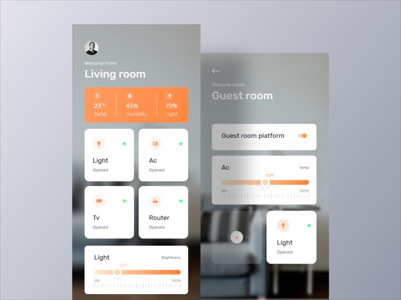 Smart Home  App UI freelancer minimal app design app interface app inspiration visualx orizon app ui design smart home app smart app card hello dribbble first shot app ui app design