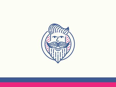 Hipsta Beardman logotype logo hipster vintage pink blue symbol icon hair beard