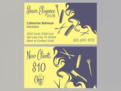 """Sheer Elegance Salon"" Business Card"