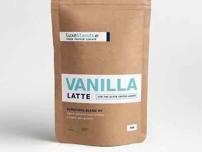 """Luxeblends """"Vanilla Latte"""" Protein Powder Concept #1"""