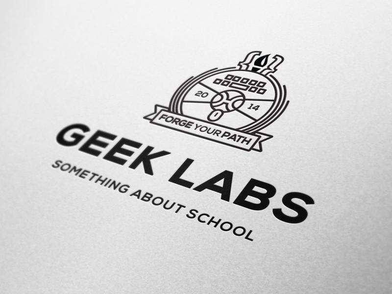 Geek Labs Logo logo typography crest branding school letterpress