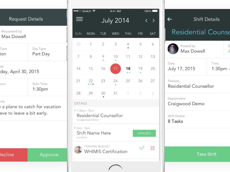 HR calendar + details mobile ux interface calendar app ios ui