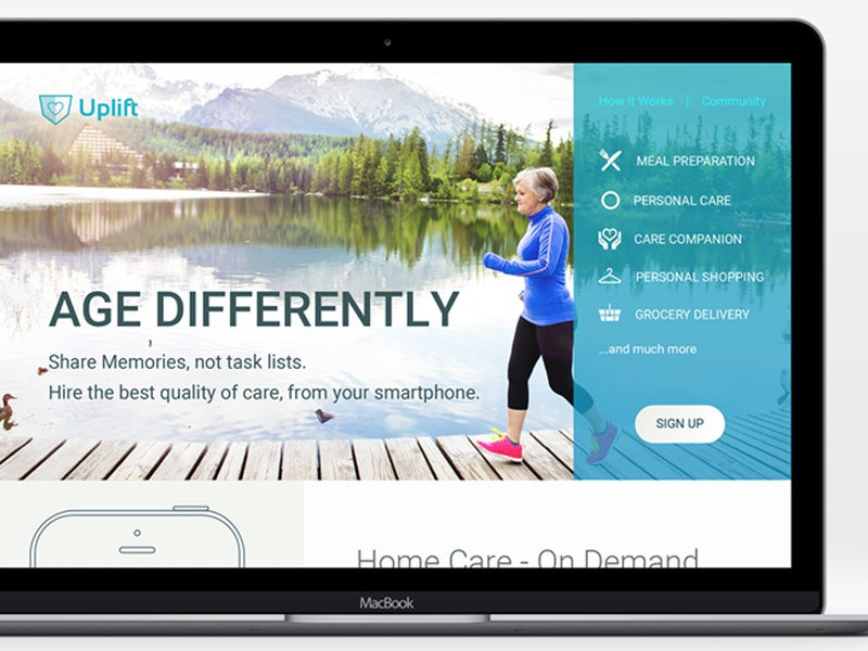 Proposed Home site care homepage interface aging health website web ui