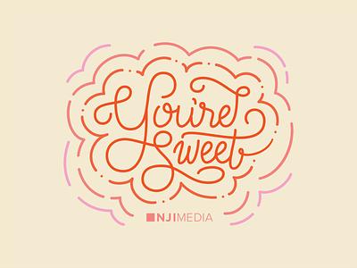 We're Sweet on You! illustration handlettering love letter sweet relationship love flourishes valentines day valentine pink lettering monline