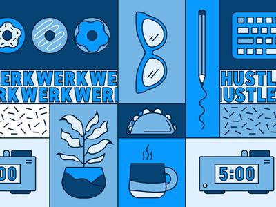 WERKWERKWERK house plants donuts illustration pattern grid tacos workfromhome njimedia blue office