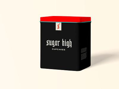 Sugar High Cupakes devil red black cupcake packaging product punk rock typography logo cupcakes branding packaging design