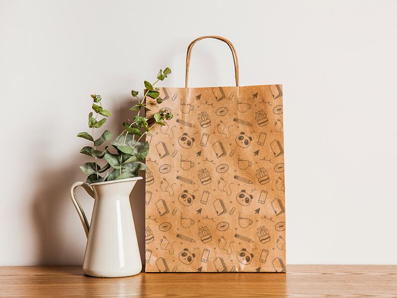 Panda Pattern panda office supplies bag packaging mockup shopping bag repeat pattern pattern design
