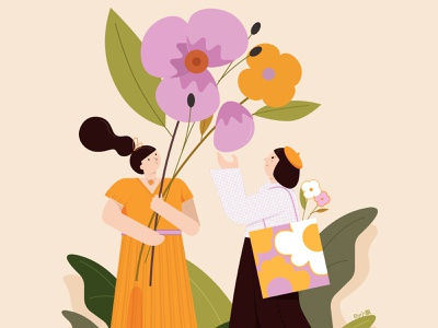 Girls and Flowers flowers girl illustration graphic