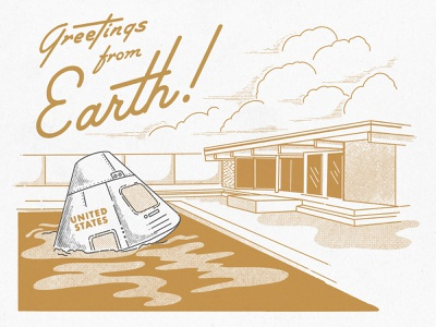 Greetings From Earth photoshop palm springs atomic architecture mod nasa halftone retro vintage procreate midcentury illustration