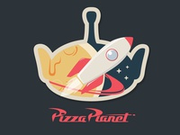 Pizza Planet Badge dribbbleweeklywarmup adobe illustrator patch weekly warmup rebound warm up warmup pizza space logo illustrator badge animation design vector illustration