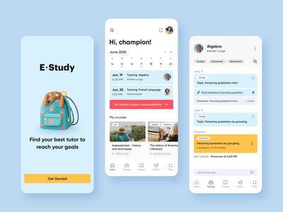 Study - Mobile App mobile tutor ui ux user interface user experience schedule education app tutoring task manager task student study school app school product design education learning courses app
