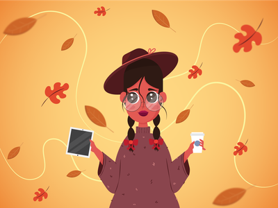 Autumn Vibes coffee cozy fall outfit autumn 2d girl design illustration vector character flat