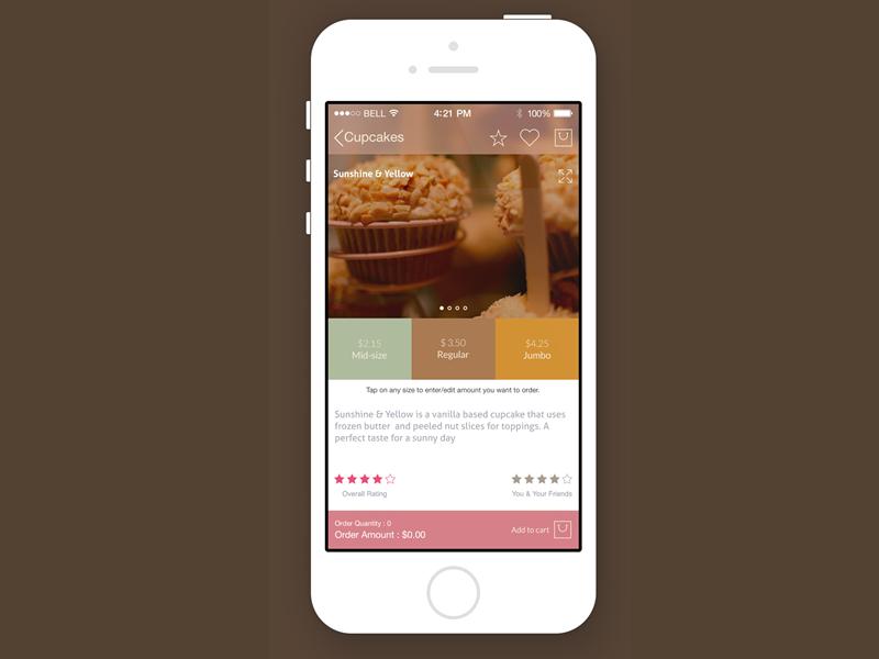 Cupcake order screen concept iphone ios app concept ios7 flat ui cupcake ui design