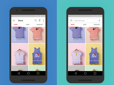 Android Preview nexus 5 store shop ecommerce ux ui app android