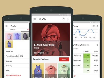Profile Cards psd freebie cards profile store shop ecommerce ux ui app android