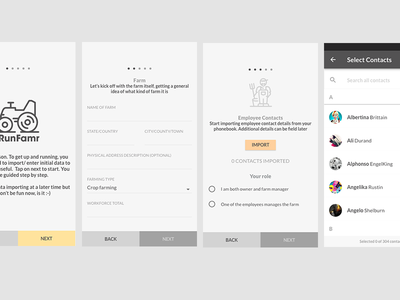 Runfamr - Data Onboarding UX form contacts material design data ux ui app android onboarding