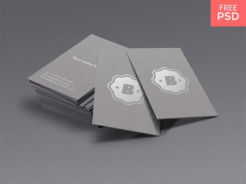 Silver business card mockup shot