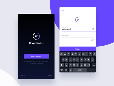 Cryptocurrency app -Concept cryptocurrency wallet app login mobile app crypto currency