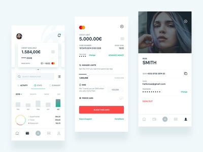 Triodos Bank App Concept II stats credit cards profile banking triodos