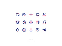 Andjoy Icons Set send share notifications lunch swimming calendar camera service gym wellness sport iconset icons