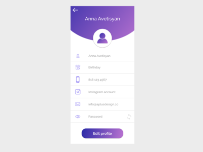 Mobile App User Profile Page