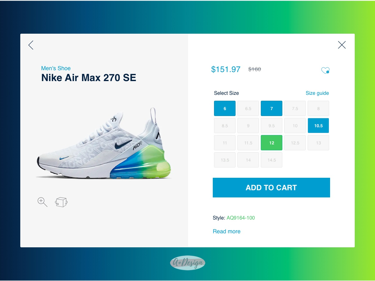 Nike Product Detail Page Design daily ui 012 product detail page ecommerce product detail nike air max nike air nike ui design challenge ui designers daily ui challange daily 100 challenge daily 012 dailyui ui ui designer aplusdesign aplusdesign.co design
