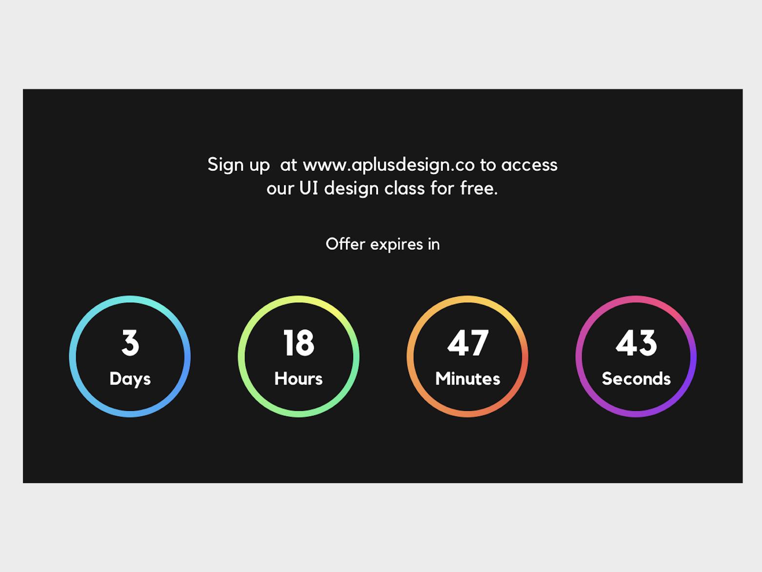 Countdown Timer UI Design - Dark Version countdown timer countdowntimer countdown timer daily ui challange ui design challenge daily ui ui design dailyui ui aplusdesign.co aplusdesign ui designer design