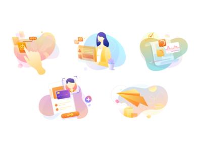 Colorful Mobile App Vector Illustration