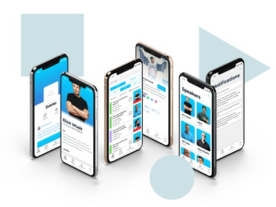 [ FREE ] Evento UI Kit download for free 2019 blue booking event speaker search minimal ux design mobile app free app prize gift kit download free ui