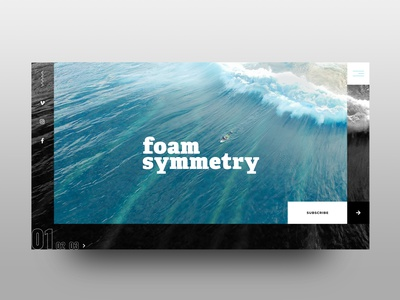 Foam Symmetry: Landing Concept (1 of 2) landing design landing page ocean magazine surf web design web home ui graphic design design