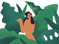 Lady in the jungle character illustration