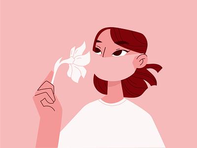 Summer 2020 illustrator flatillustration character flower summer covid19 mask illustration