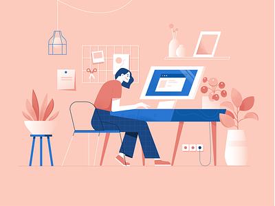 Workspace workspace uiillustration plant desk illustrator editorial character illustration