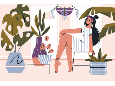 Botany texture characters illustrator character plant editorial illustration