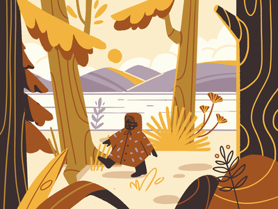 Autumn editorial flatdesign photoshop mograph autumn forest ui character illustration